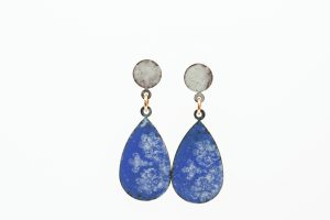 blue and ivory patterned enamel teardrop earrings