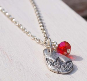 Hand stamped droplet silver necklace